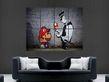 Banksy POSTER GRAFFITI STREET Mario fungo POLIZIOTTO maart immagine grande parete