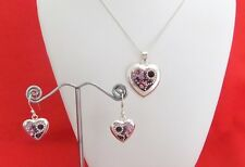 925 Sterling Silver Curb Link Necklace With Heart Pendant & Heart Earrings