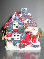 Weihnachtshaus mit Nikolaus und Schneemann, Teelichthäuschen