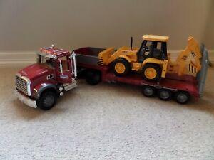 BRUDER 02813 Mack Granite Flatbed Truck with JCB Loader - Excellent Condition