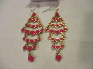 "AVON Summer Getaway Chandelier Earrings -Layers of Sparkle Goldtone PINK 2"" L"