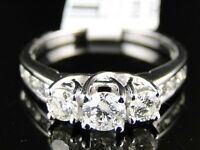 14K White Gold Ladies 3 Stone Round Diamond Engagement Wedding Band Ring 1 Ct