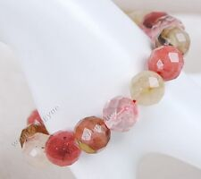 """Beads Stretchy Bracelet 7.5"""" Aaa 10mm Faceted Watermelon Tourmaline Round"""