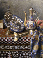Oil painting Max Schoedl - Orientalist still life Cloisonne jug and plate canvas