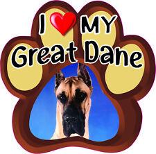 I Love My Great Dane Cute Dog Bumper sticker Paw #192