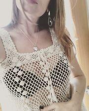 Vtg 70s Cream Sheer Popcorn Crochet Knit Sexy Hippie Boho Bride Sweater Dress Os