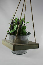 Hanging ''one'' PLANTER BOX POT Shabby Chic Vintage Retro WOODEN GARDEN 4756878