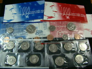 1999 United States Mint P & D Uncirculated Coin Set Envelope & COA