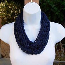 Navy Dark Blue SUMMER Infinity Scarf, Small Narrow Skinny Soft Crochet Knit Loop