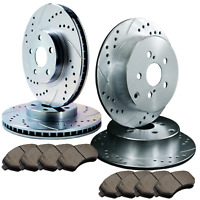 Double Cross-Drilled Slotted Zinc Coated Premium Rotors w//Ceramic Pads ATL029970