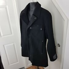 MENS G-STAR RAW COAT SOUTH EAST DISTRICT DECOY WOOL TRENCH BLACK SIZE XXL