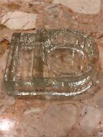 "Vintage Clear glass Cigarette coaster ashtray 4"" x 1 1/4"""