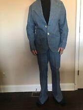 Vtg 70s Blue Denim Mod Disco 2 Pc Leisure Suit Jacket 42 /Pants Regular W 32 L34
