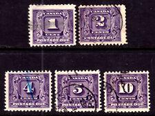 CANADA POSTAGE DUE #J6-J10, 1930-32 SET/5, VG-F, USED