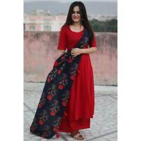 Indian kurta dress With dupatta palazzo Flared Top Tunic Set blouse Combo  -na32