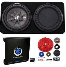 "Kicker 43TCWRT122 1000W 12"" 2-Ohm Slim Shallow Subwoofer+Box+Amplifier+Amp Kit"