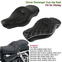2-up Fahrer & Sozius Sattel Sitzbank für Harley Sportster 883 Custom XL883 04-13