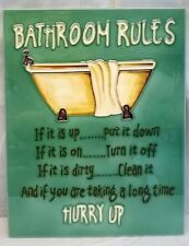 Bathroom Rules Ceramic Wall Art 28x35.5cm Plaque Tile Picture YH Arts Fun Décor