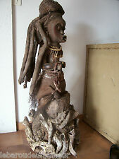 "Antique (pre-1930) Vintage African Ceremonial Wood Dan Dancer Ivory Coast 18"" Tall Doll"
