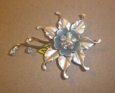 Vintage BROOCH 1960s Eloxal Rhinestone big flower blue gold- NZ Estate