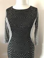 Autograph Black & Grey Wiggle Dress Size 10 Stretch 3/4 Sleeve Bodycon Illusion