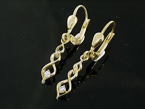 333 Gold kleine Ohrringe mit Zirkonia Steinen 27,5 mm Länge 1 Paar mit Brisur