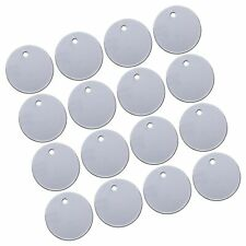 Satinior 100 Pieces Stamping Blank Tags, 1 Inch Round with Hole Aluminum Blan.