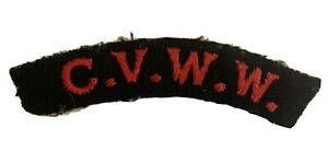 C.V.W.W. (COUNCIL OF VOLUNTARY WAR WORK) WW2 EMBROIDERED SHOULDER TITLE
