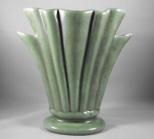 Circa 1945 Art Deco Camark Green Handled Vase Form Shape Number 303 Arkansas Pottery
