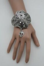 Women Silver Bone Skeleton Skull Halloween Fashion Cuff Bracelet Spider Web Net