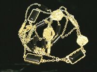 """EUC Chicos 40 - 47"""" Long Black Faux Bezel Onyx Gold Tone Chain Long Necklace"""