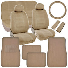 Classic Beige Seat Covers for Car Truck SUV Auto w/ Thick Rug Floor Mats