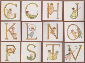 Stickpackung, Lanarte, Buchstaben, spielende Kinder, Kreuzstich, 12x12cm