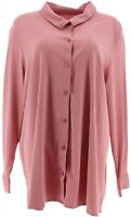 Martha Stewart Collared Lux Cotton Button Front Knit Top (Dusty Pink, M) A351518