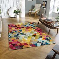 Multi Coloured Funky Bright Modern Thick Rugs Soft Heavy Runner Rug Cheap Carpet