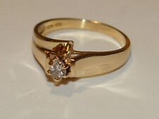 Estate 10K Solid Yellow Gold Cathedral Style Pear Cut Diamond Ring 2.1 Gms Sze 6