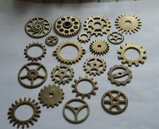 20  STEAMPUNK COGS AND GEARS BRONZE COLOUR SIZES RANGE FROM 26mm 25mm AND DOWN