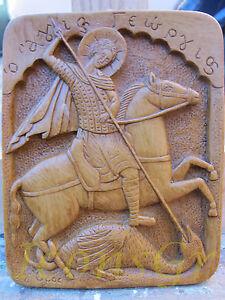Orthodox Wax Icon Saint George Handmade Greek Carved From Mount Athos   88