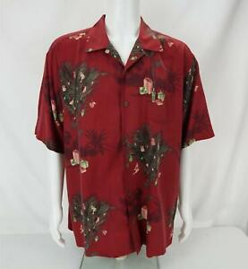 Tommy Bahama Floral Seasons Greetings Holiday Shirt Red Men's X-Large