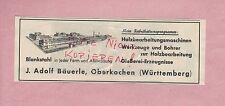OBERKOCHEN, Werbung 1936, J. Adolf Bäuerle Holzbearbeitungs-Maschinen