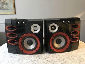 Philips FWB-C577/17 Speaker Pair, 6 Ohm, Black Red Silver Serial No 0304316