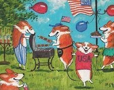 8x10 Folk Art Print Of Painting Pembroke Welsh Corgi Ryta 4th Of July Americana