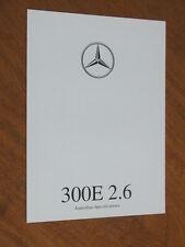 1990 Mercedes-Benz 300E 2.6 original Australian 4 page Specifications folder
