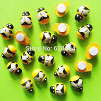 50pcs 13mm Wooden Wood Yellow Animal Bee Stickers Fridge 3D Art Wall Decoration