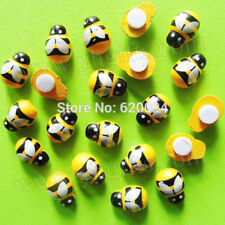 50pcs 13mm Wooden Wood Yellow Animal Bee Stickers Fridge 3D Art Wall Decoration