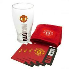 Official Licensed Football Manchester United Mini Bar Set Glass Coaster 4 Mats