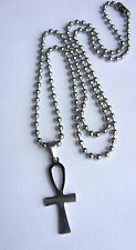 Stainless Steel Egyptian Ankh Cross (27x11mm) Charm Dog Tag Ball Chain Necklace