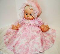 "22"" 1961 Madame Alexander Kitten Baby Doll Clean Body Dress, diaper, Shoes Crier"