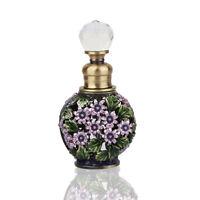 Crystal Metal Perfume Bottle Vintage Pink Flower Scent Bottle Lady Gift 6ML