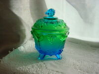 Vtg Blue Green Glass Candy Jar Footed Grape Clusters Leaves